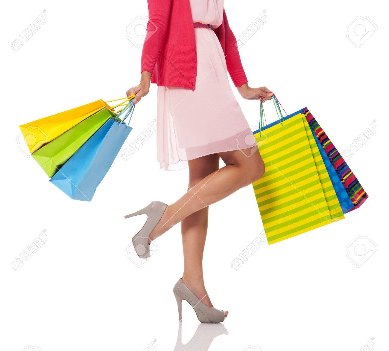 Woman holding colorful shopping bags Stock Photo - 21534445