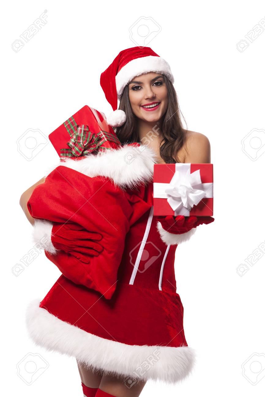 Foto Di Natale Con Donne.Donna Sexy Che Da I Regali Di Natale Dal Sacco Di Babbo Natale