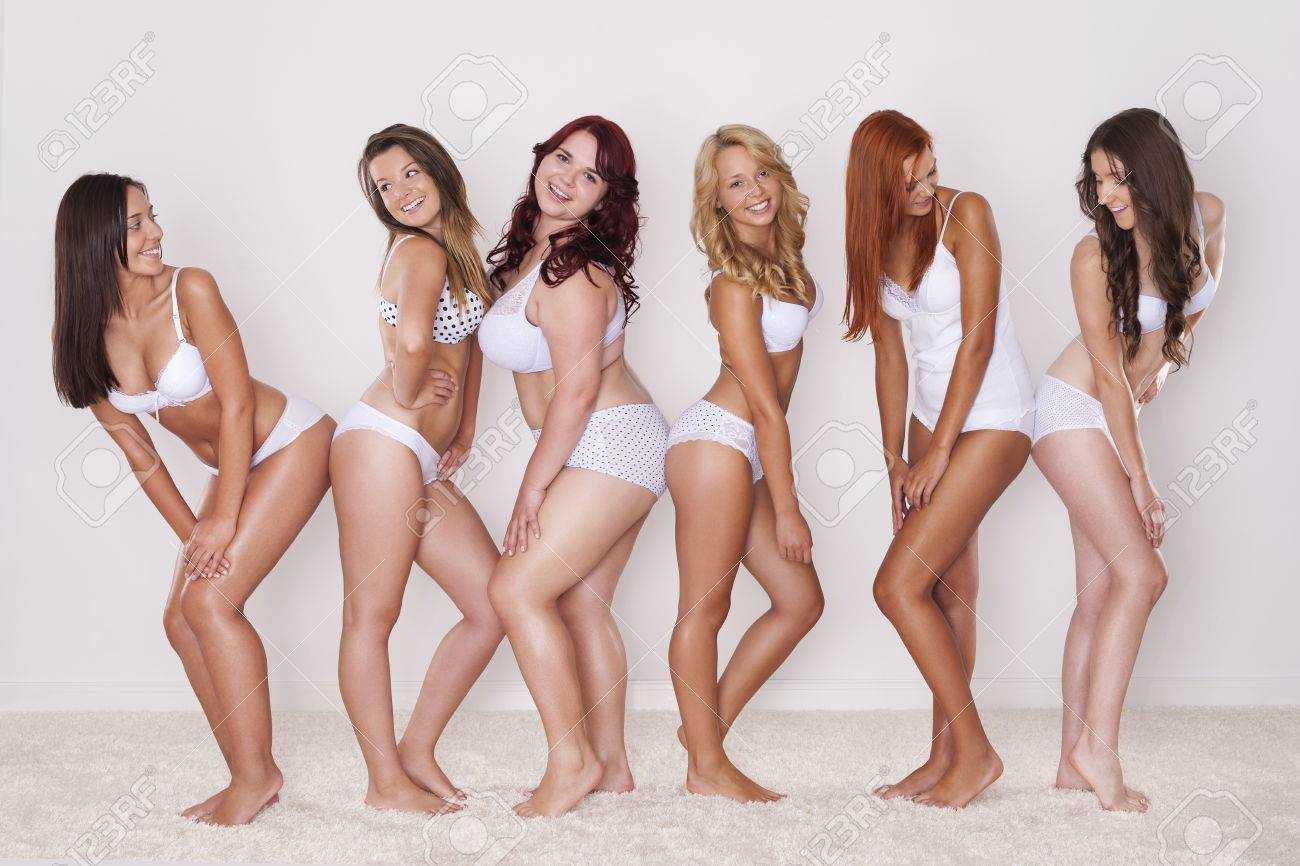 Group Of Happy Women Shows Their Beautiful Body Stock Photo Picture