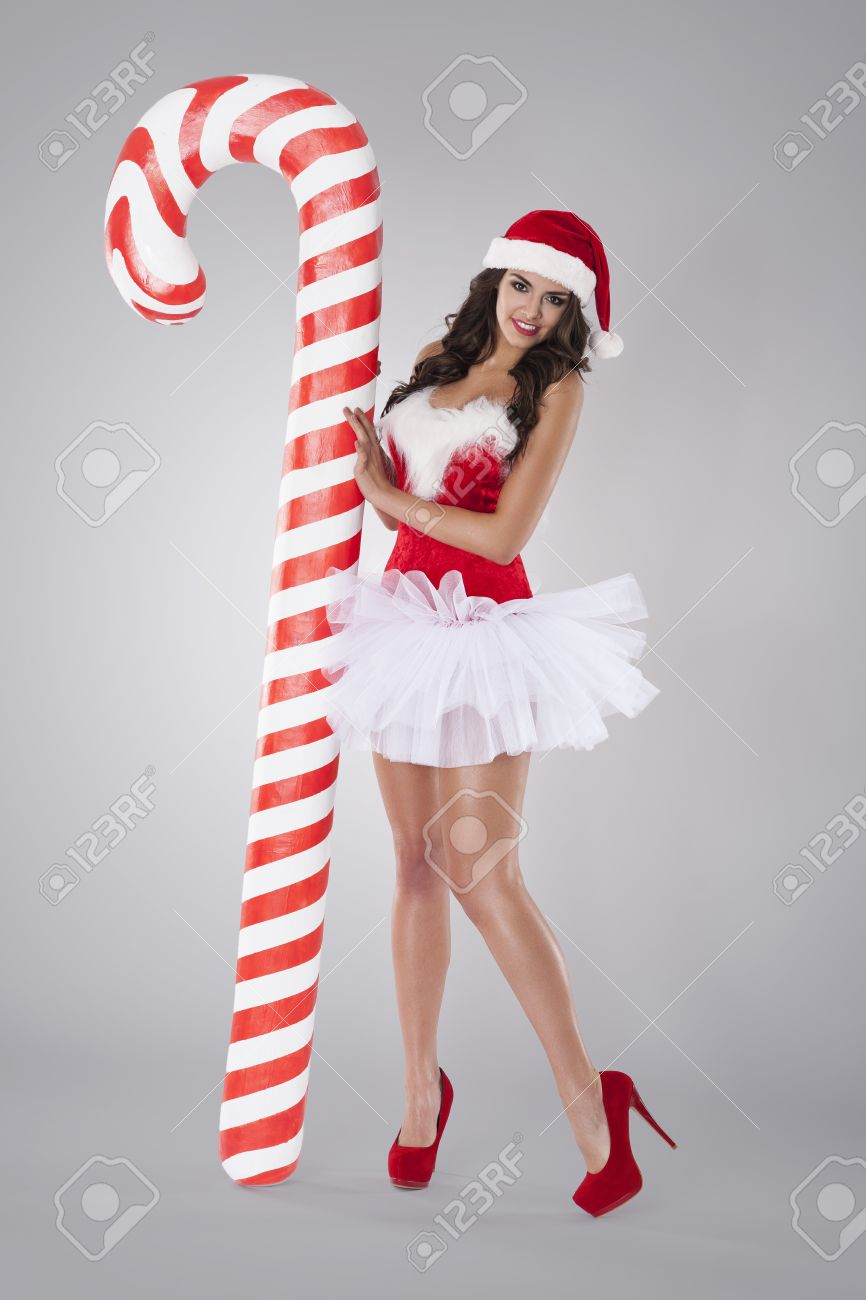 Sexy santa claus with christmas candy cane Stock Photo - 33288504  sc 1 st  123RF.com & Sexy Santa Claus With Christmas Candy Cane Stock Photo Picture And ...