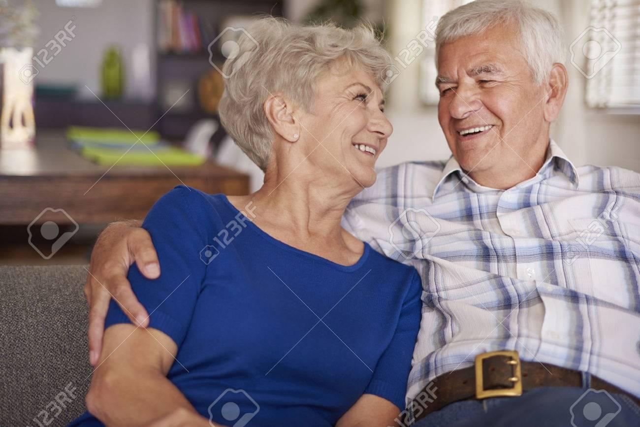 Happy senior couple on te sofa Stock Photo - 44406010
