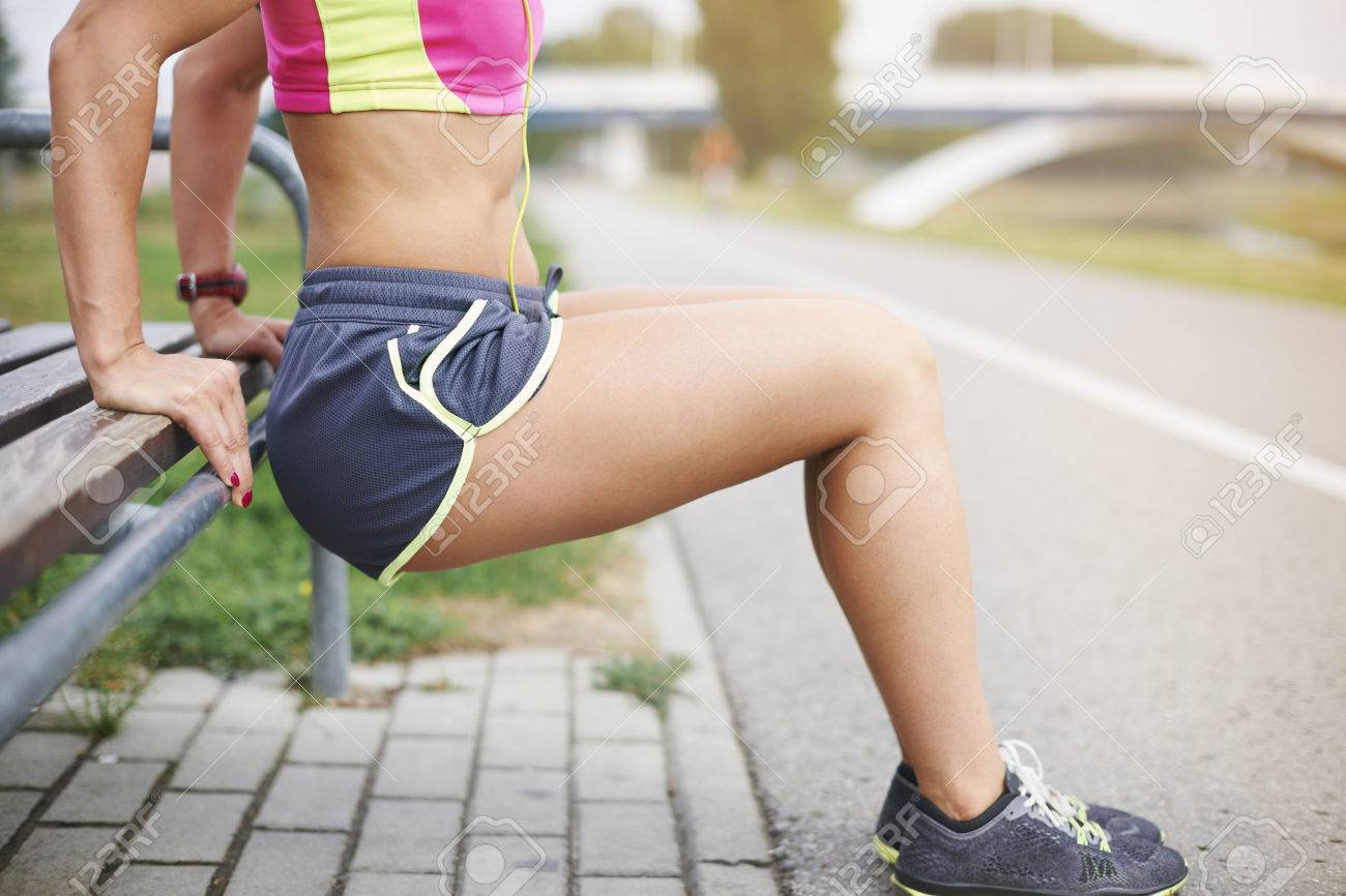 Few sit ups and different stretching exercises Stock Photo - 45518884