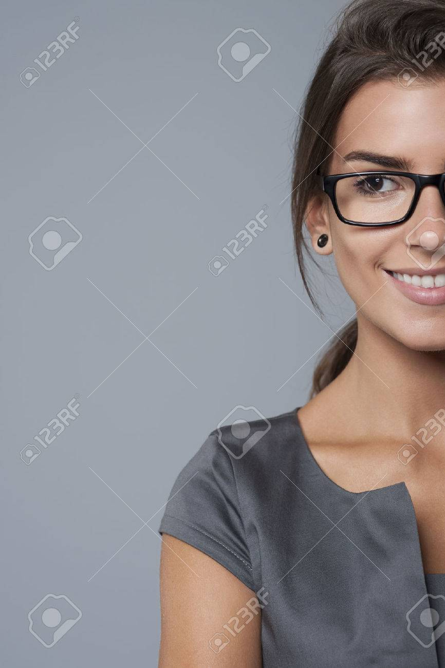 Half faced businesswoman looking at something Stock Photo - 45520020