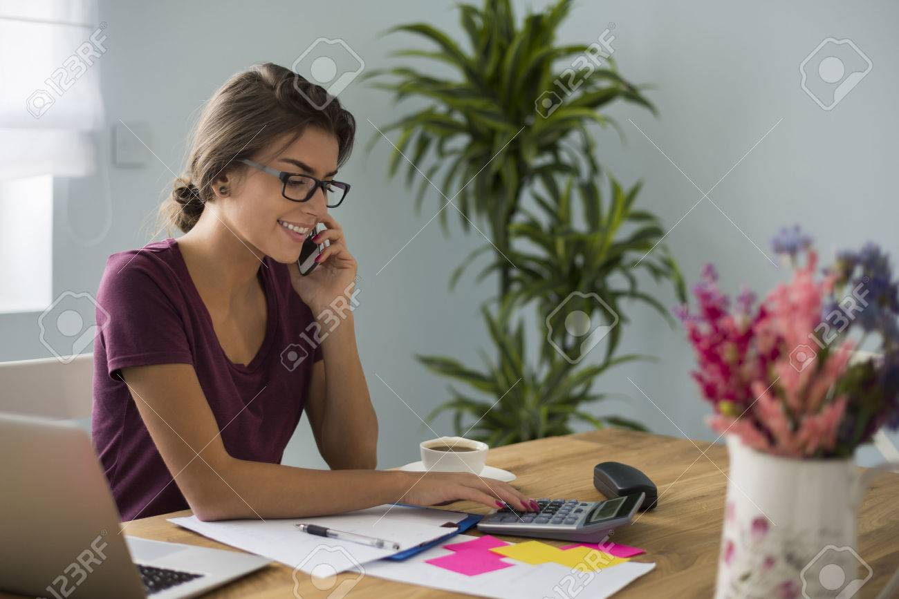 Busy accountant working at home Stock Photo - 45524035