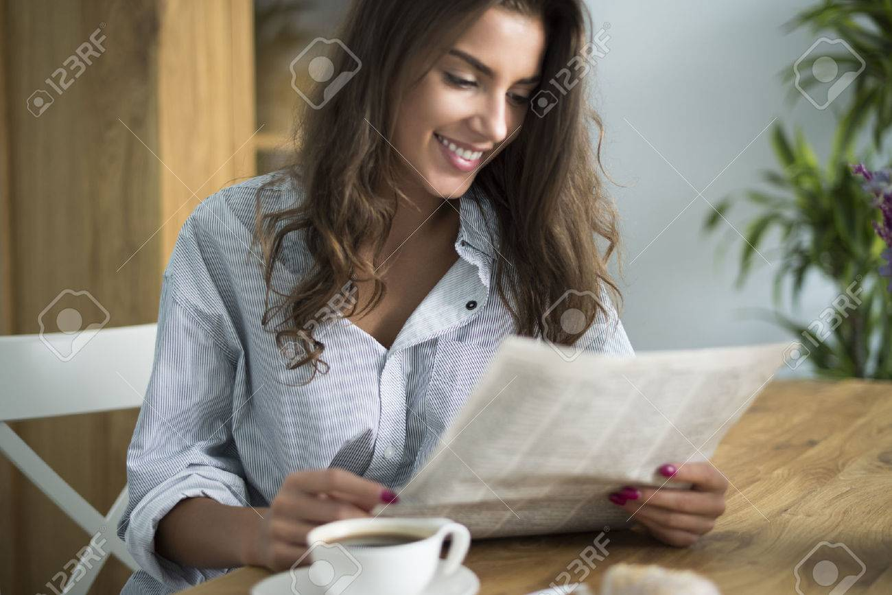Good morning starts with reading newspaper Stock Photo - 45524039