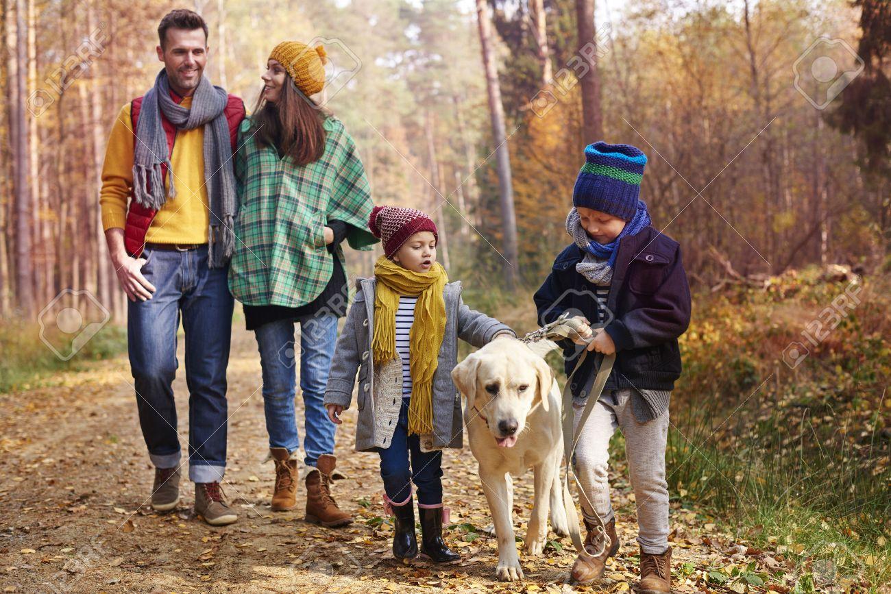 Walking with all family in autumn season Stock Photo - 47642002