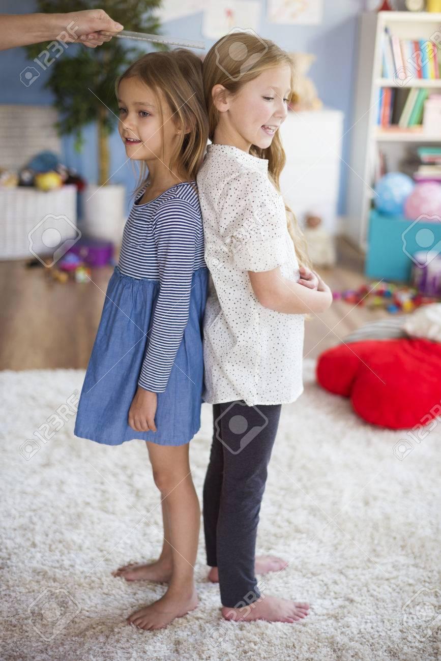 Same height as girl