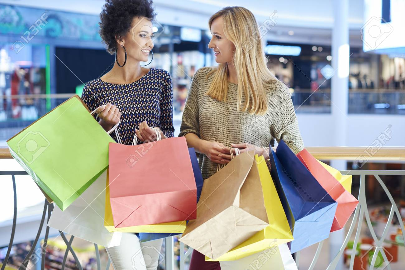 Two Girls At Shopping Mall Stock Photo Picture And Royalty Free