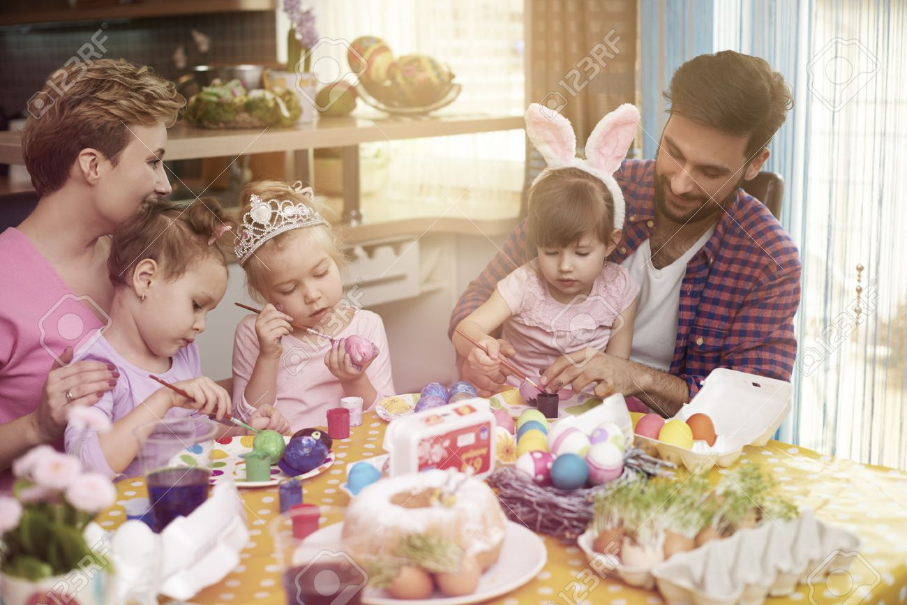 Handmade easter eggs painted by the whole family Stock Photo - 51955080