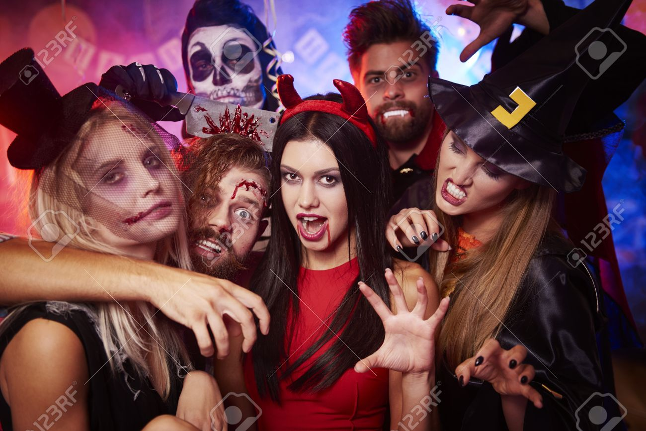 Group of creepy friends at the party Stock Photo - 62477619