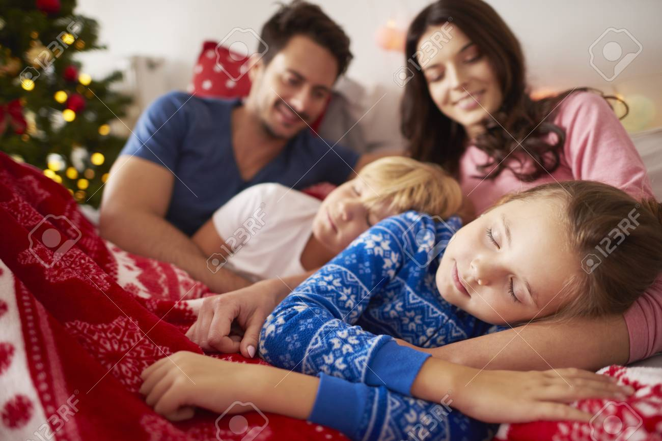 Sleeping Kids At Christmas Morning Stock Photo, Picture And Royalty ...