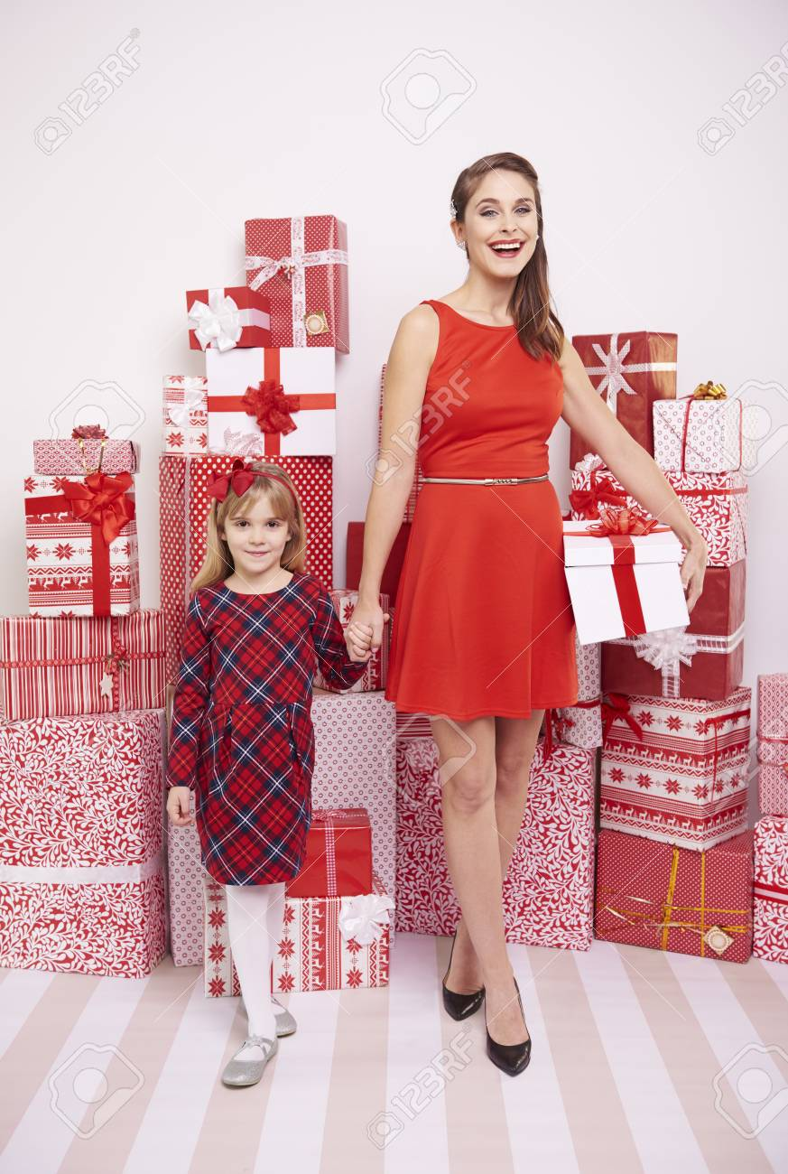 Mom And Daughter With Christmas Presents Stock Photo Picture And