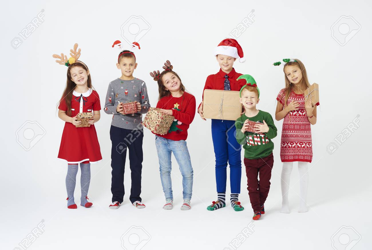 Happy Children With Christmas Gifts Stock Photo, Picture And Royalty ...