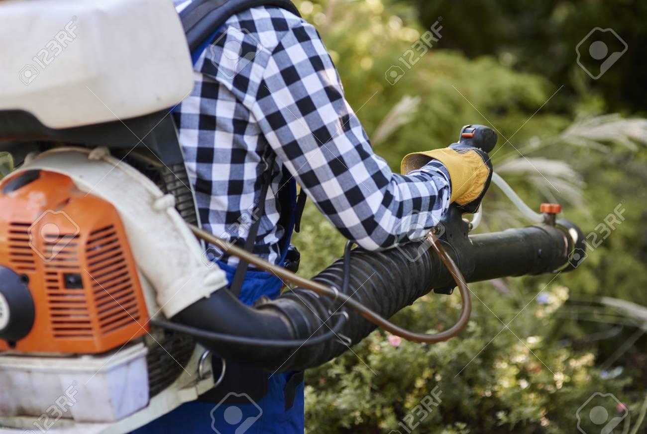 Man using modern leaf blower - 95374895