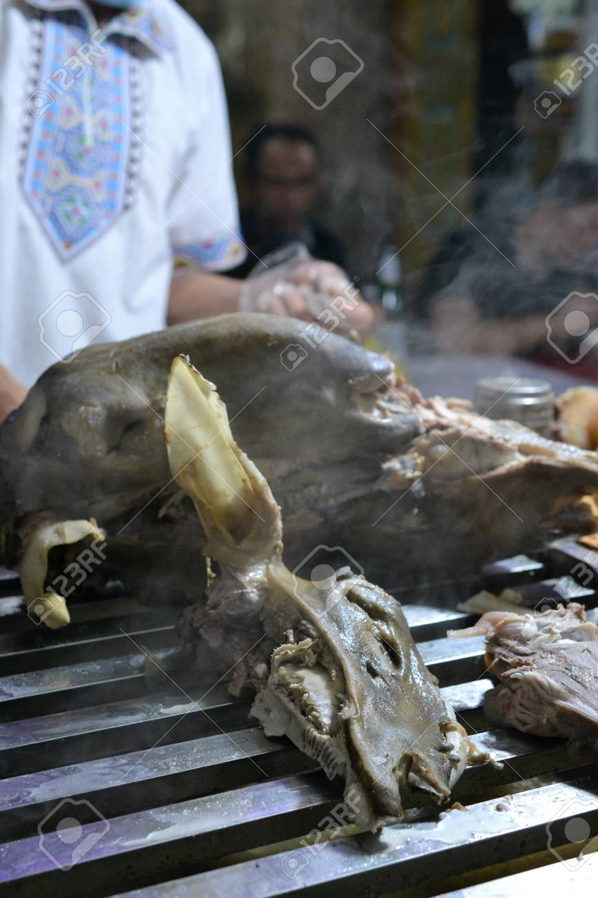 Chinese lamb head, meat in Xinjiang Uyghur style barbeque