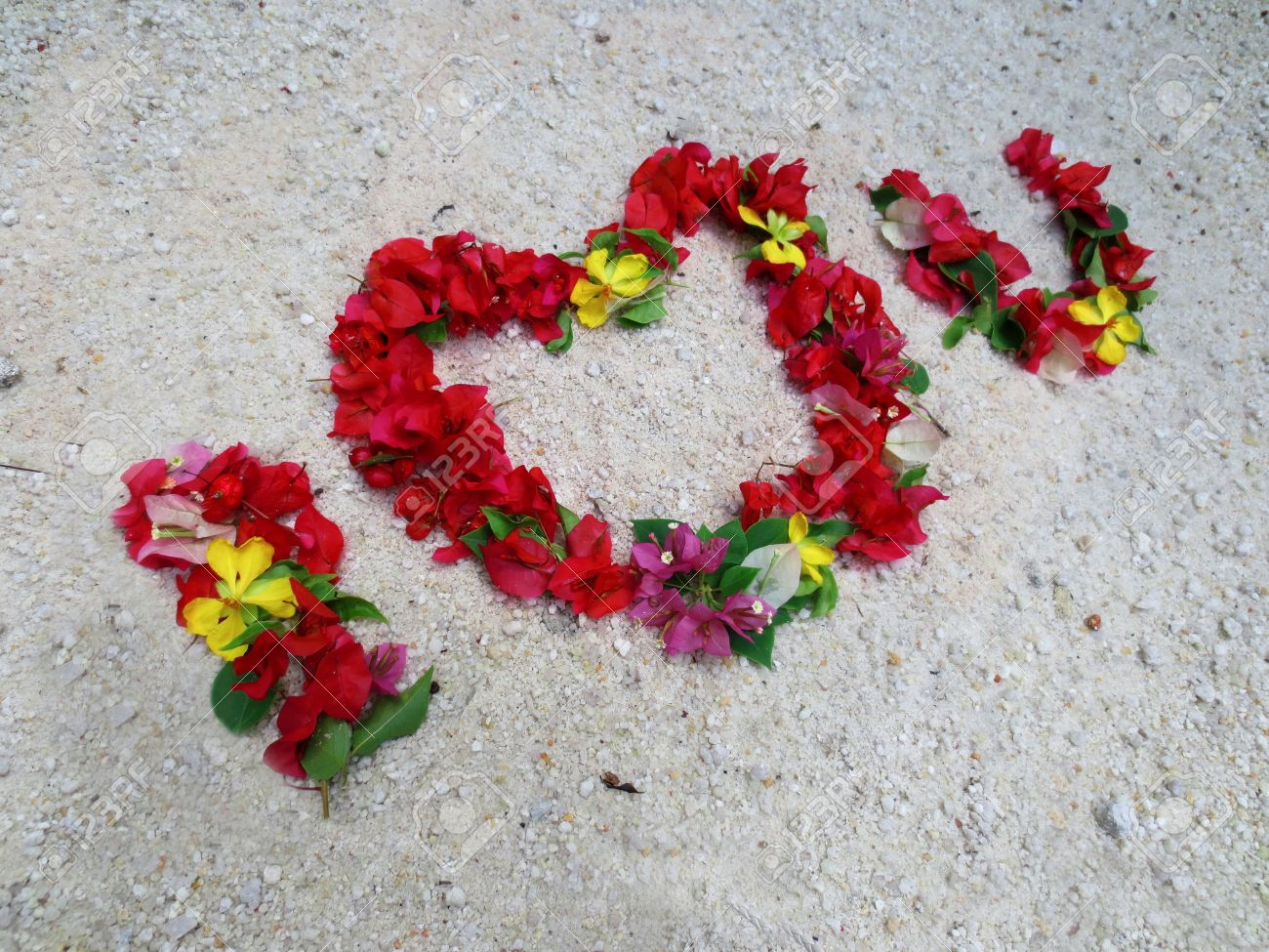 I Love You Flowers On The Sand Stock Photo Picture And Royalty Free