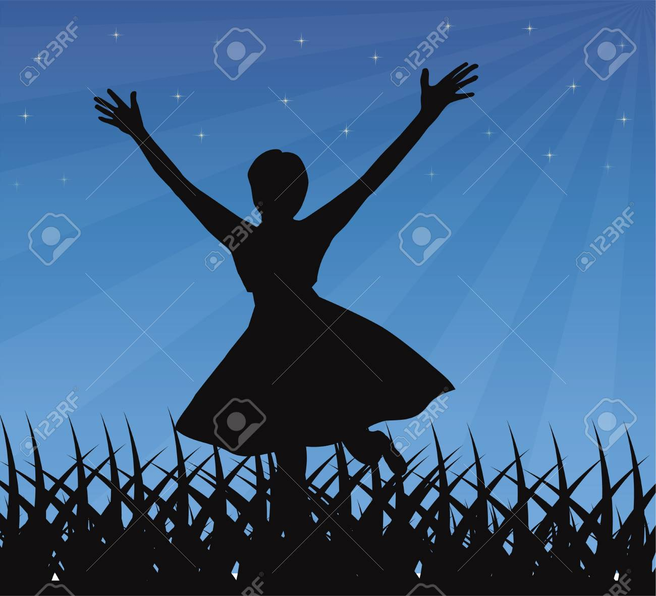 Dancing girl silhouette Stock Vector - 18977738
