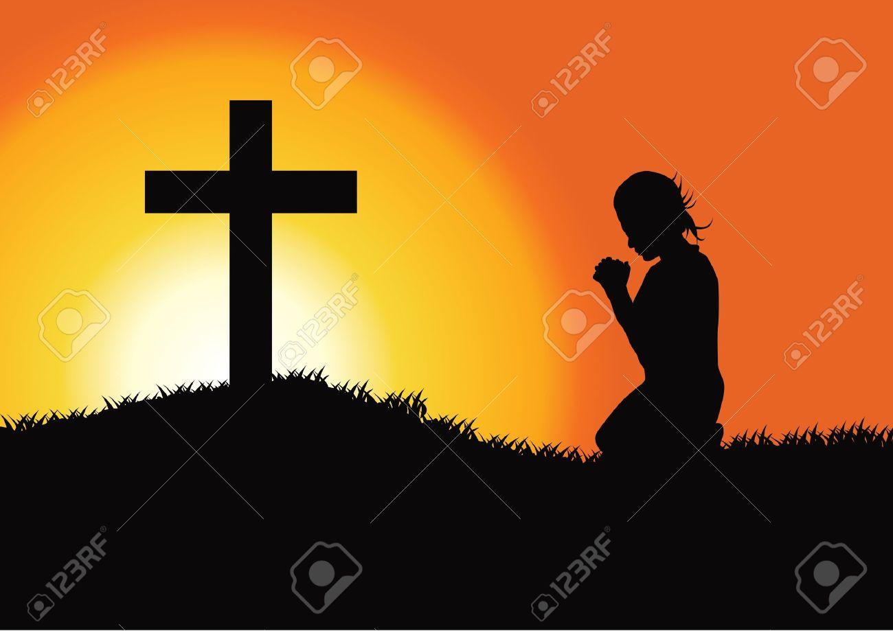 Prayer at the Cross Stock Vector - 19248552