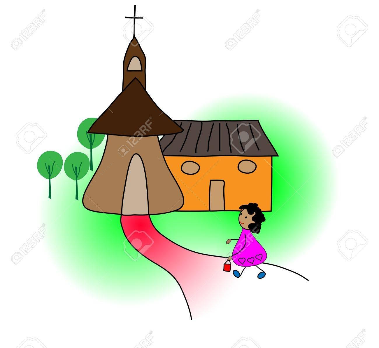 Girl going to church Stock Vector - 19927792