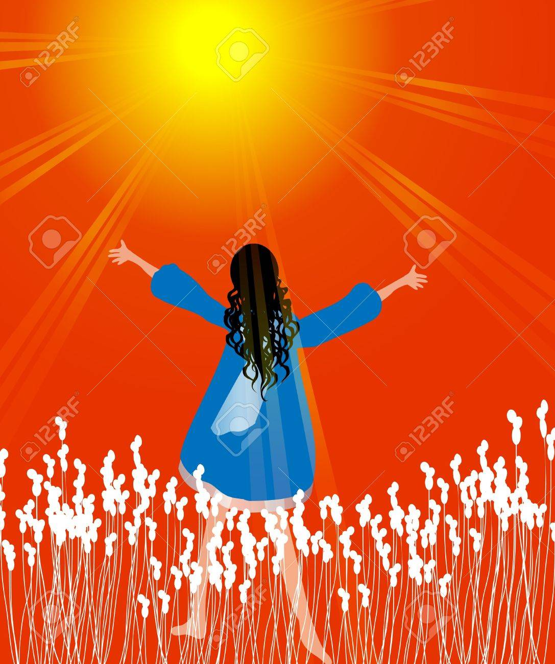 Woman in praise Stock Vector - 22032724