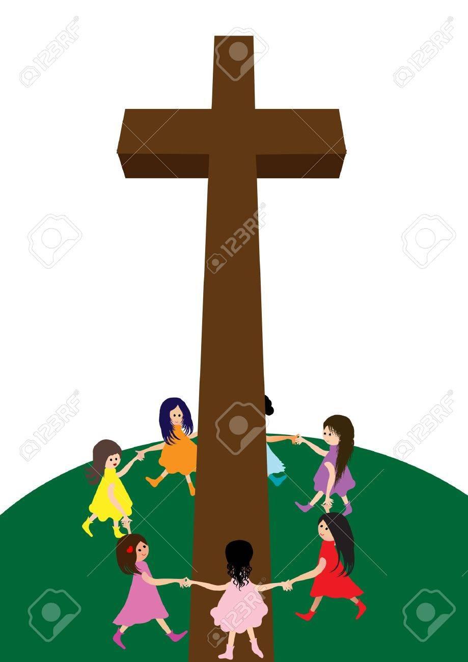 Children with Cross Stock Vector - 22022982