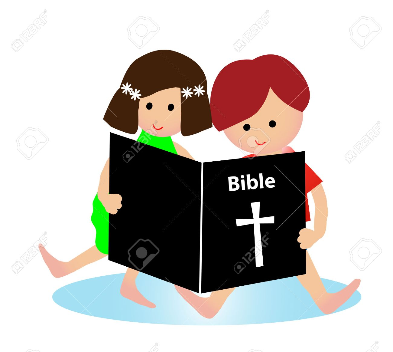 Child reading bible Stock Vector - 22873256