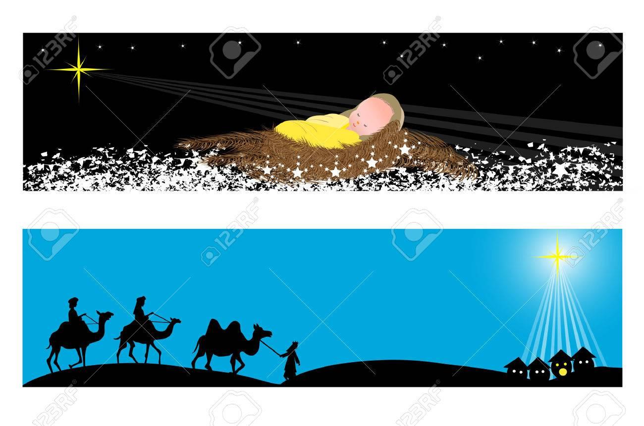 Two Christmas banners-Wisemen and baby jesus Stock Vector - 23120125