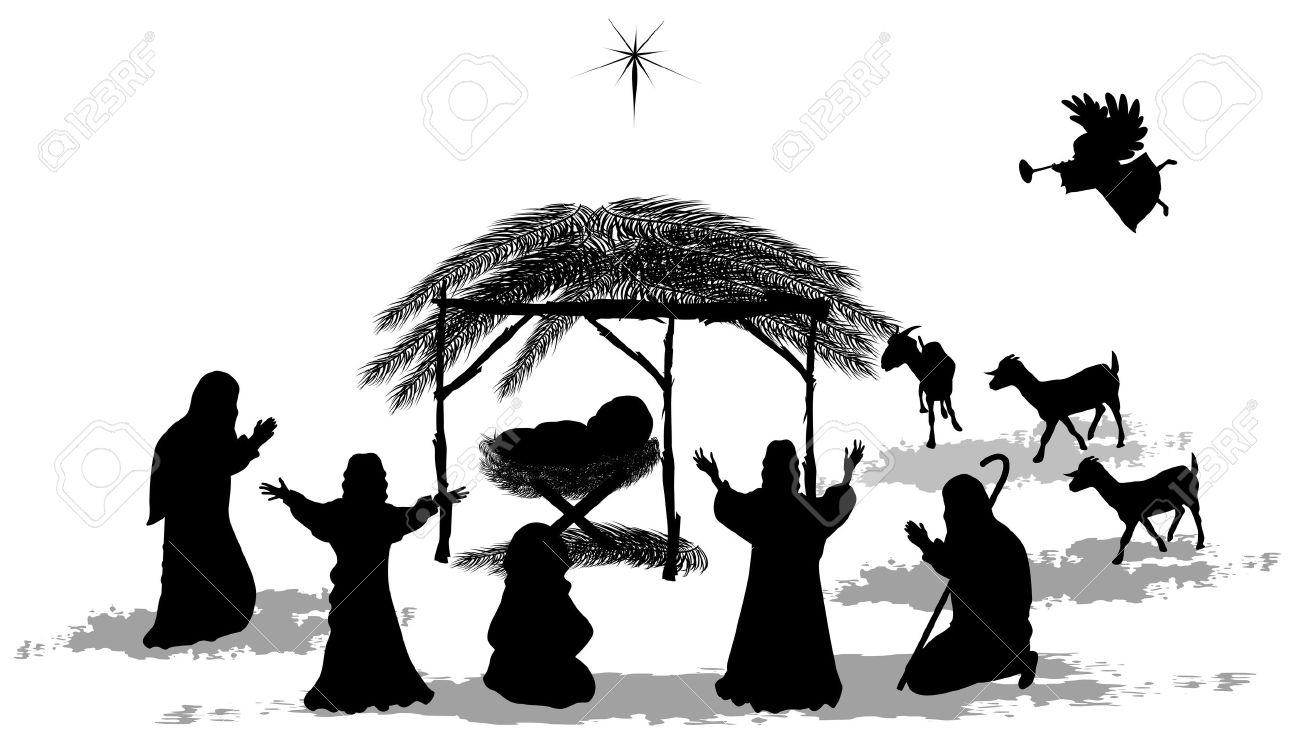 Black silhouette nativity scene and shepherds Stock Vector - 23120218
