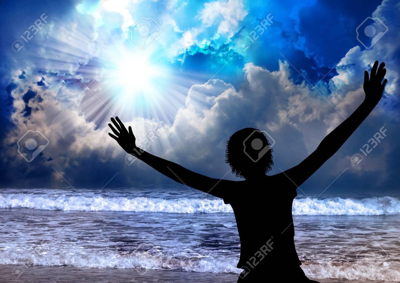 Woman worship and praise Stock Photo - 26082621