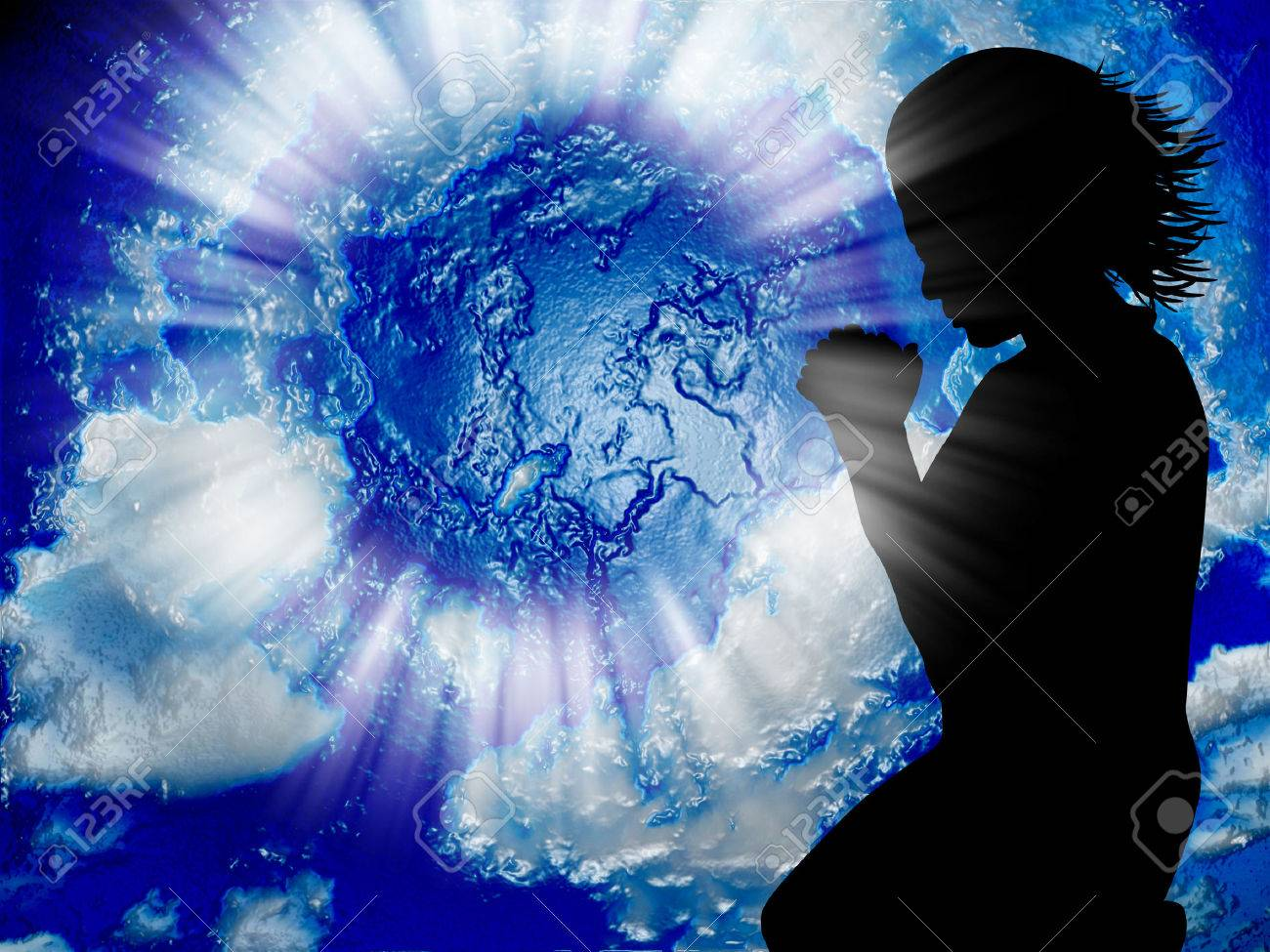 Woman praying for the world Stock Photo - 27426768
