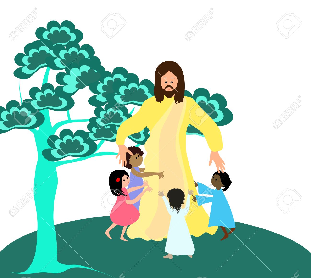 Jesus Loves The Little Children Royalty Free Cliparts, Vectors ...