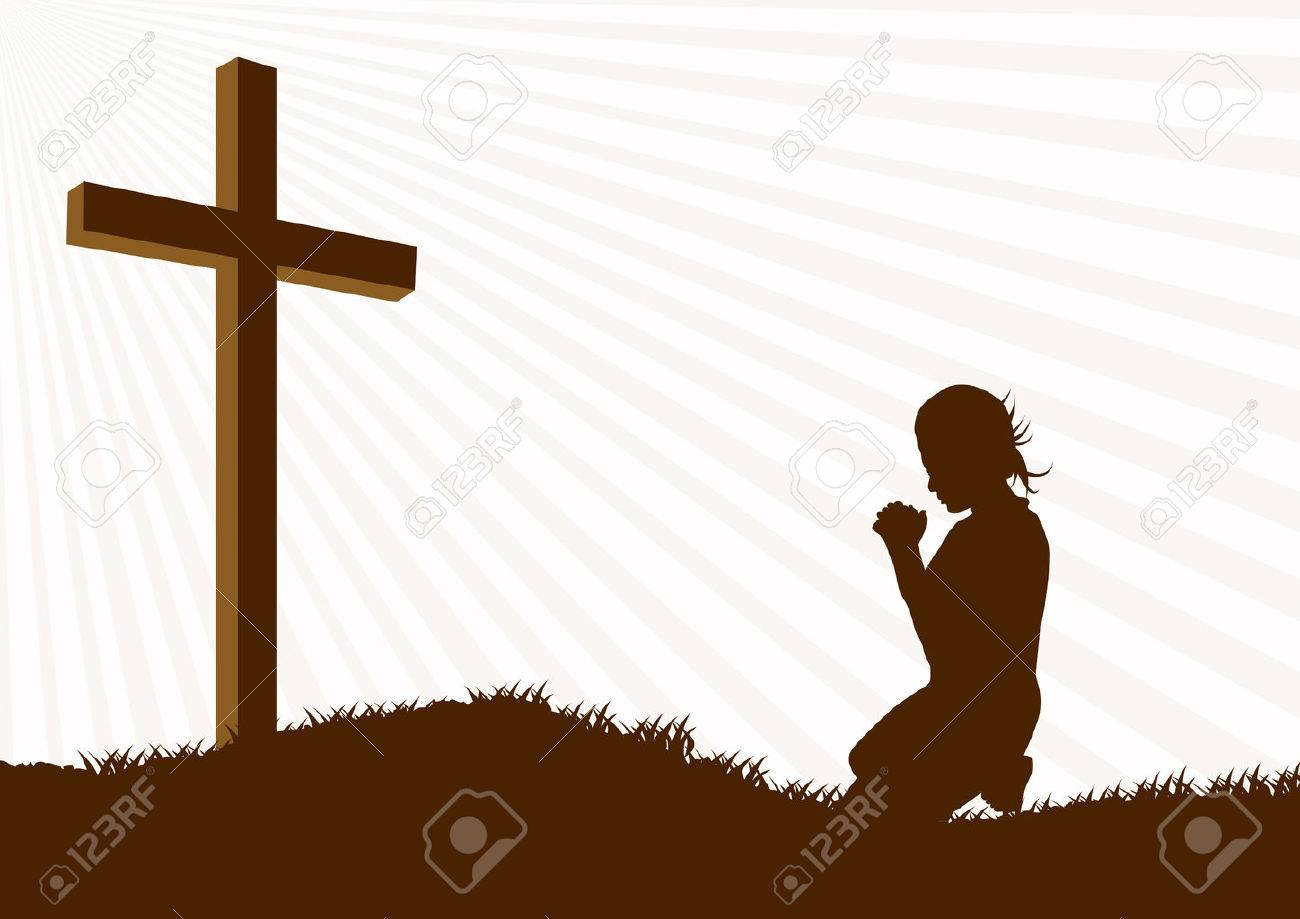 Silhouette Of A Woman Praying Under The Cross Stock Vector