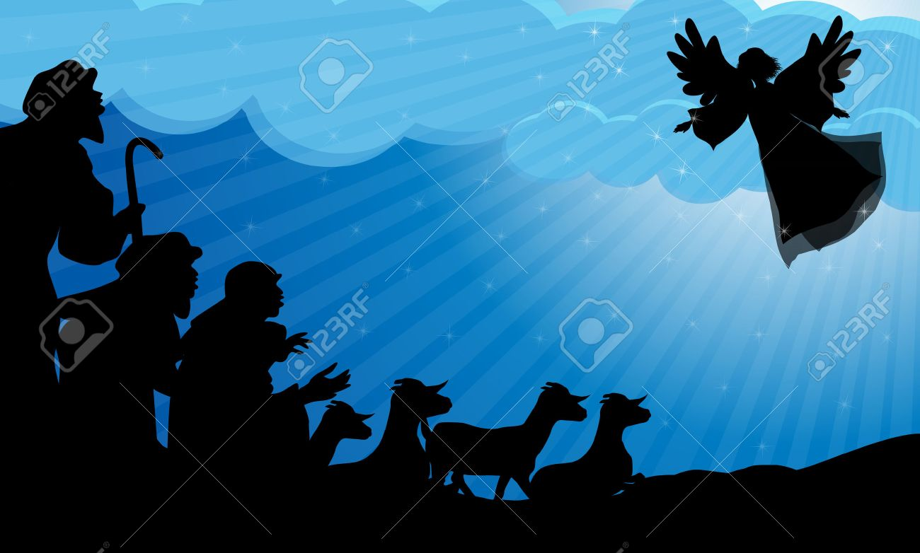 Angel announced to the shepherds the birth of Jesus Stock Vector - 34205836