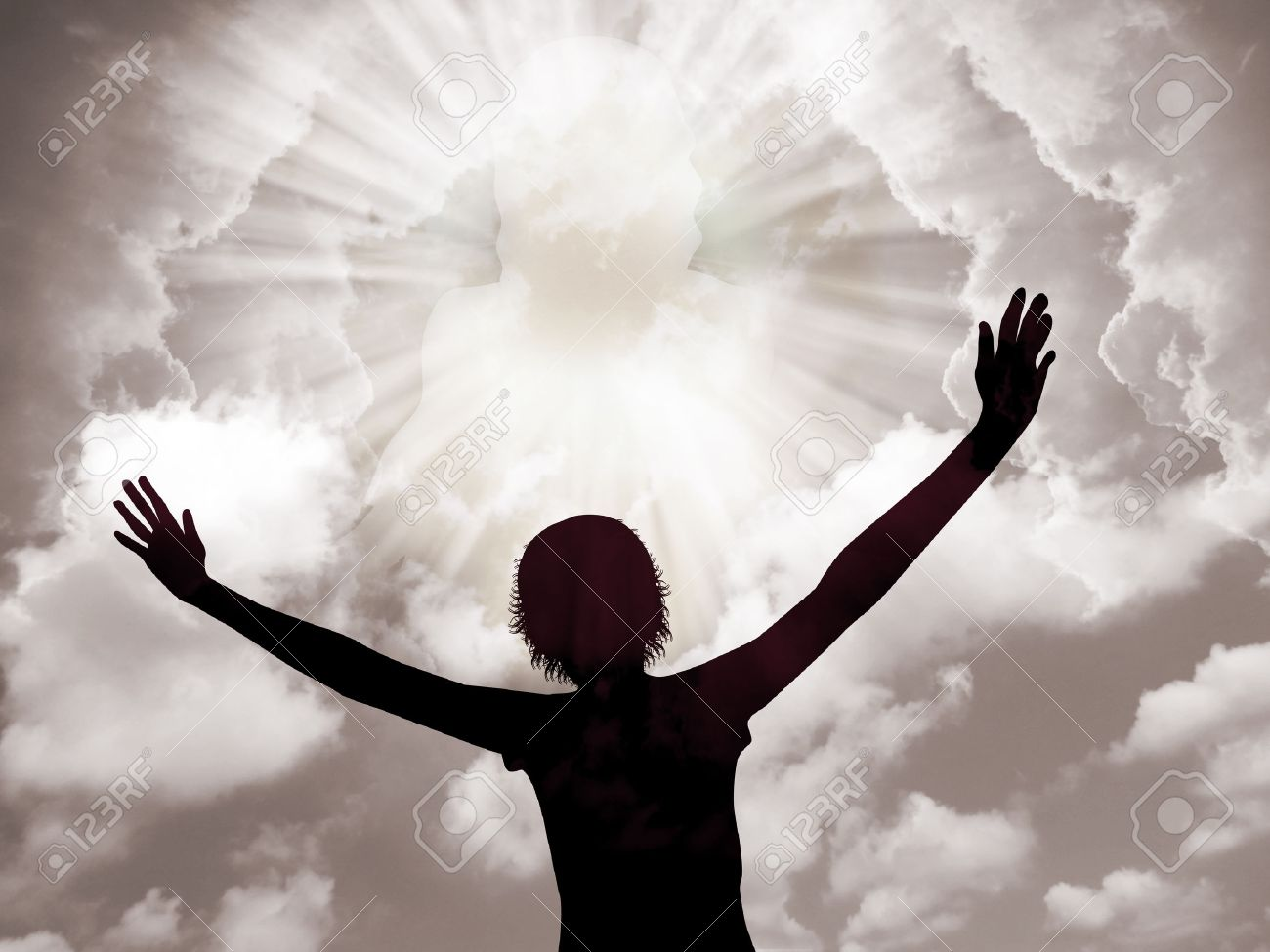 Young woman worship and praise the lord Stock Photo - 37841489