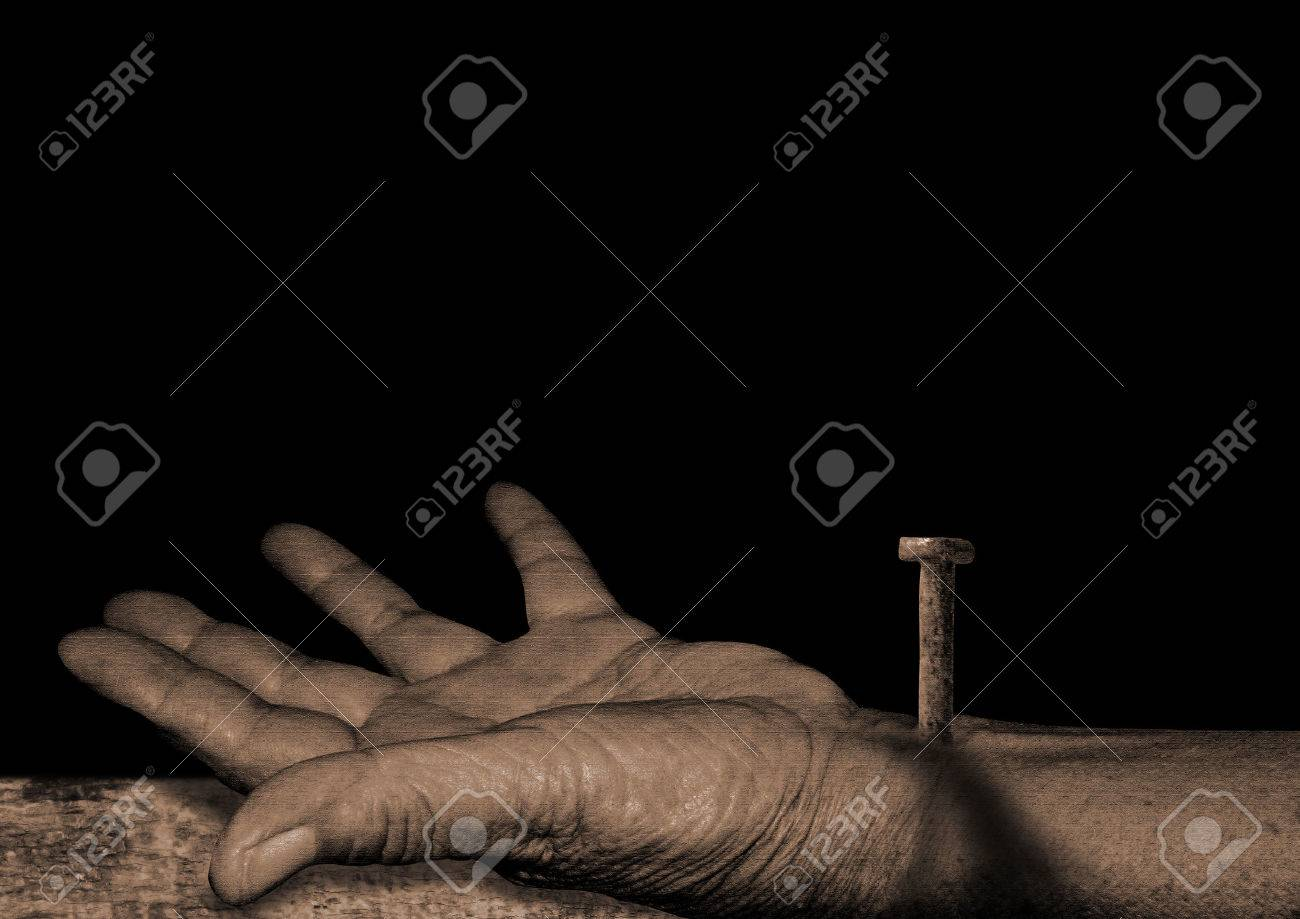 The Hand Of Jesus- Jesus Christ Is Nailed To The Cross Stock Photo ...