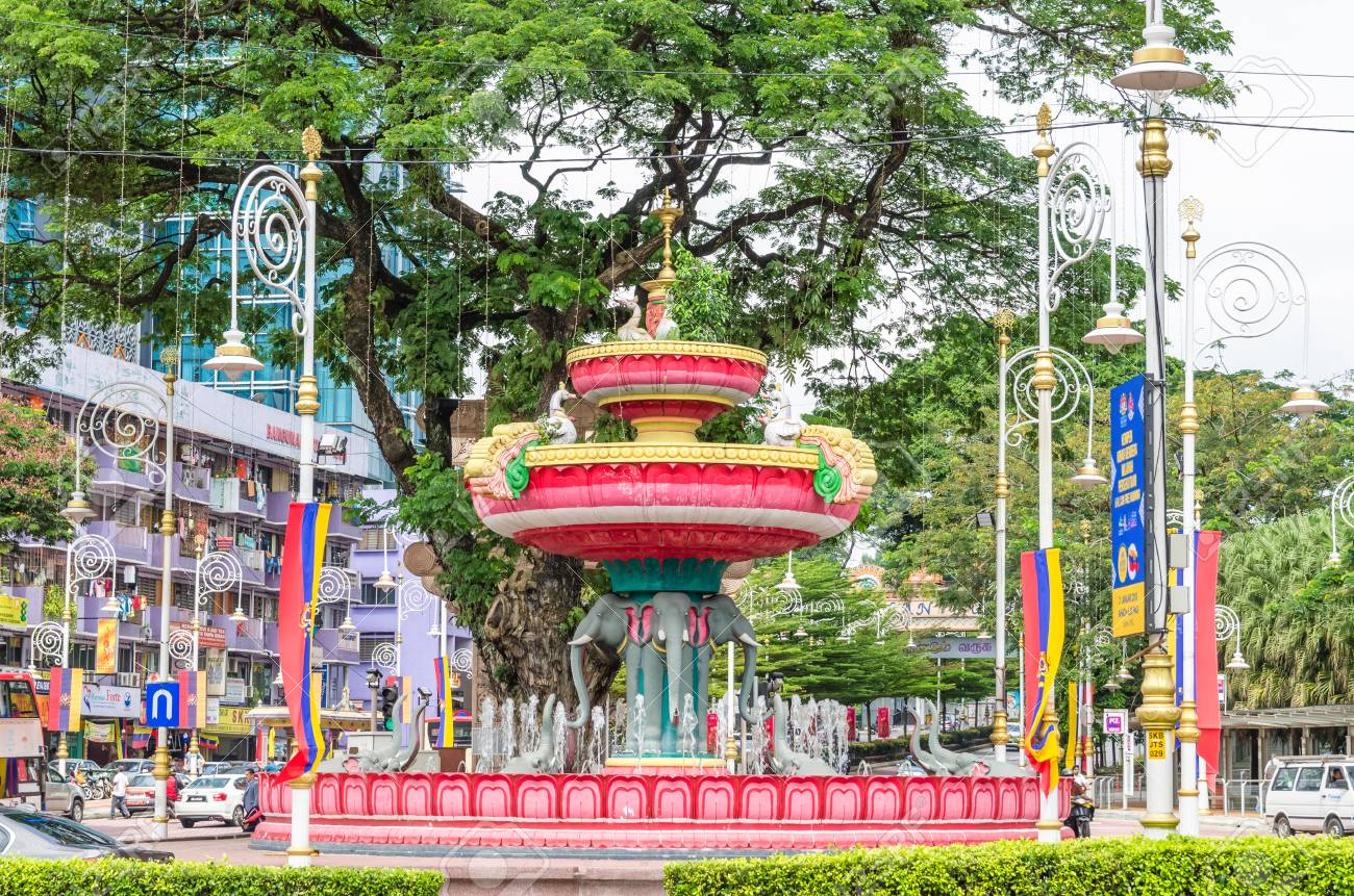 Kuala Lumpur, Malaysia - Feb 7,2017 : Brickfields Junction Fountain is the local point of KL's official 'Little India'. Symbolic elements in the fountain's design include elephants, swans and lotuses. - 95865823