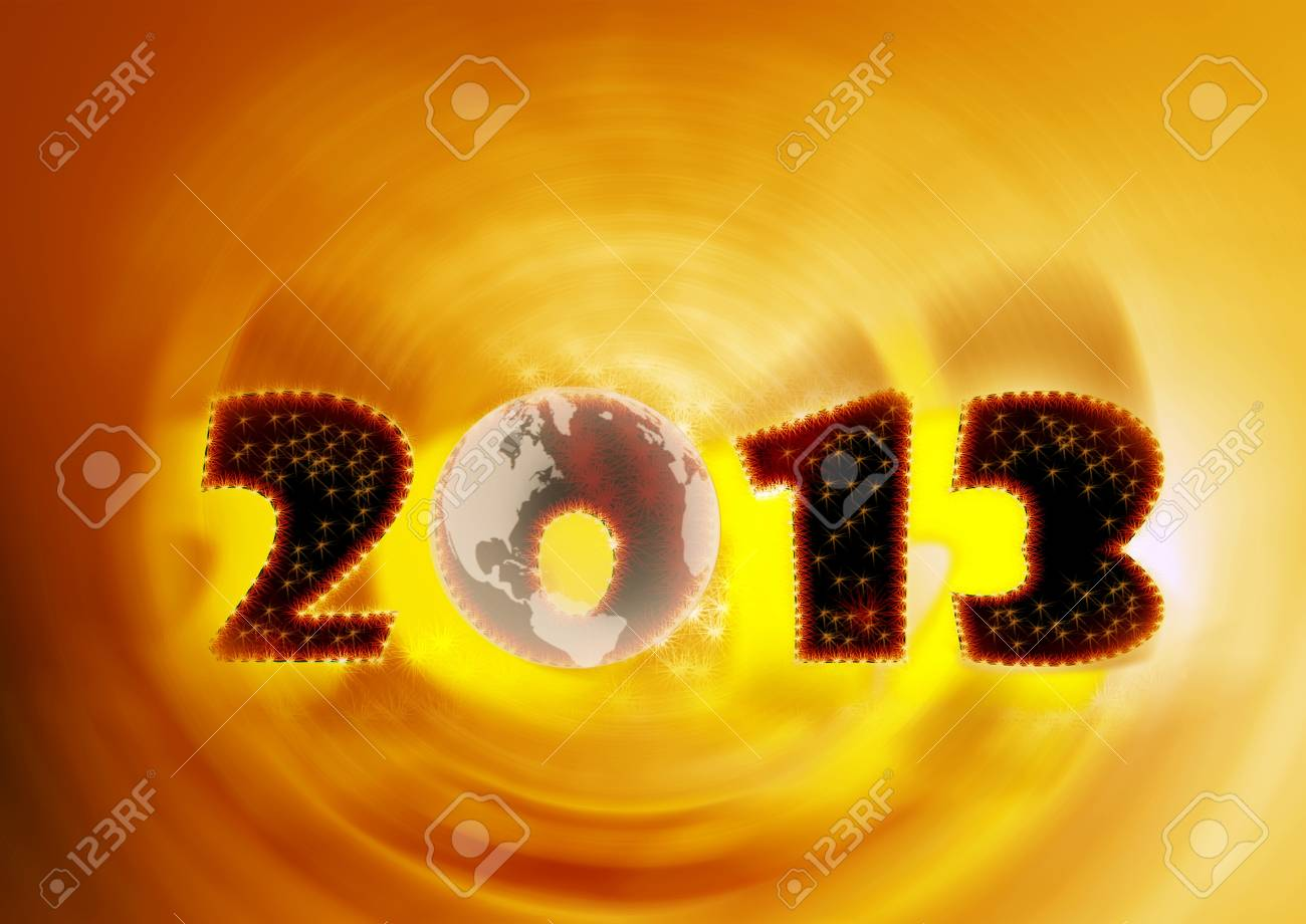 2013, again in yellow swirl and planet earth Stock Photo - 15184318
