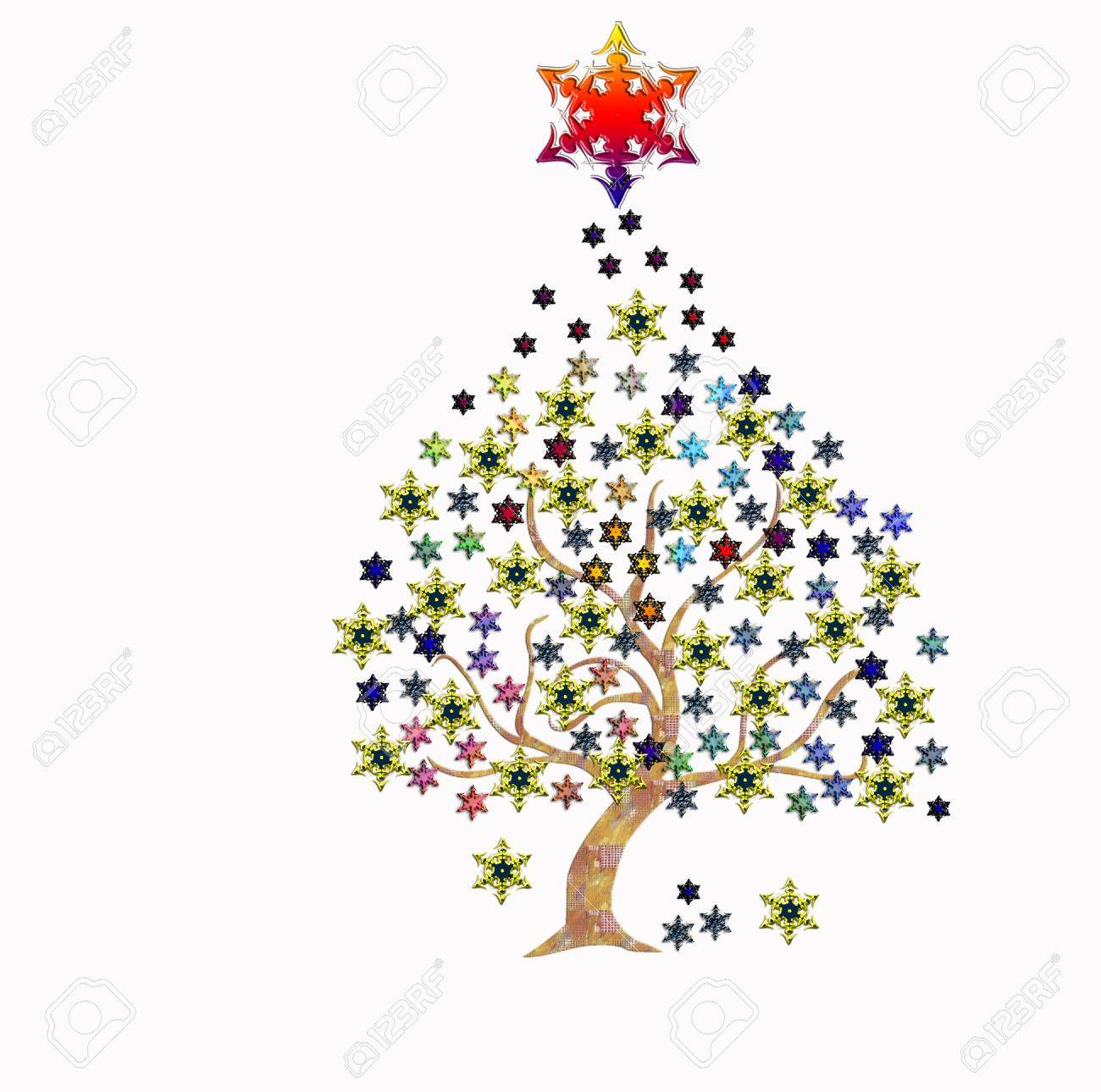 foto de archivo rbol de navidad con las estrellas sobre blanco