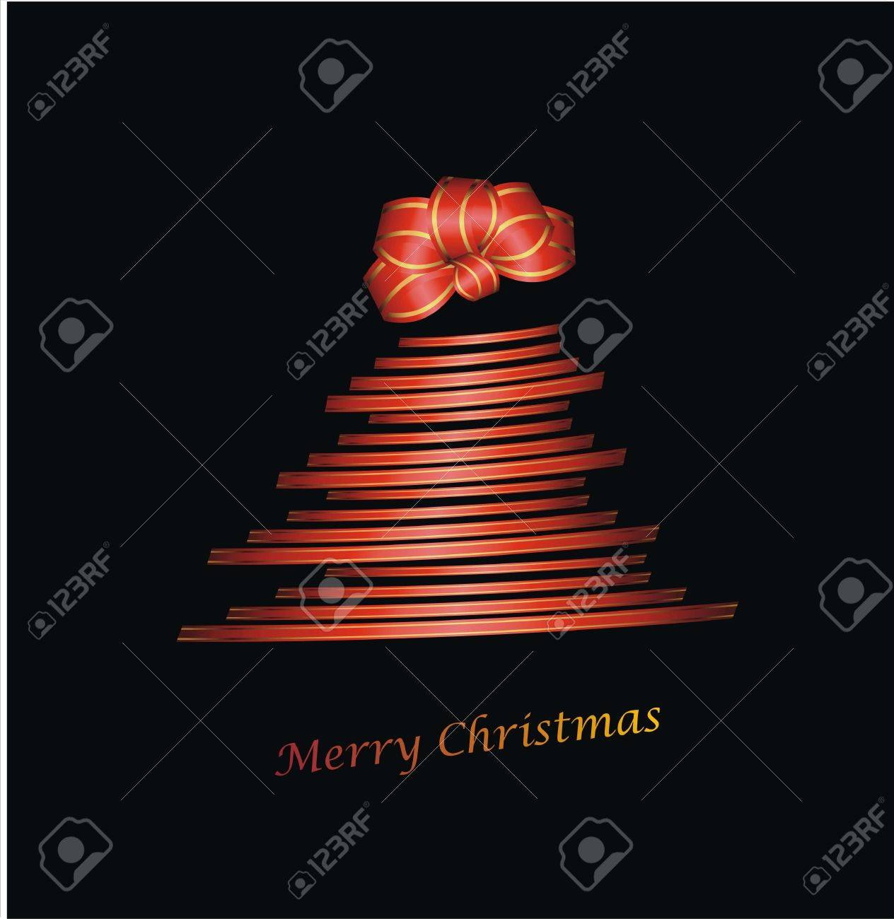 Christmas tree with gift ribbon and chignon on black Stock Vector - 16332384