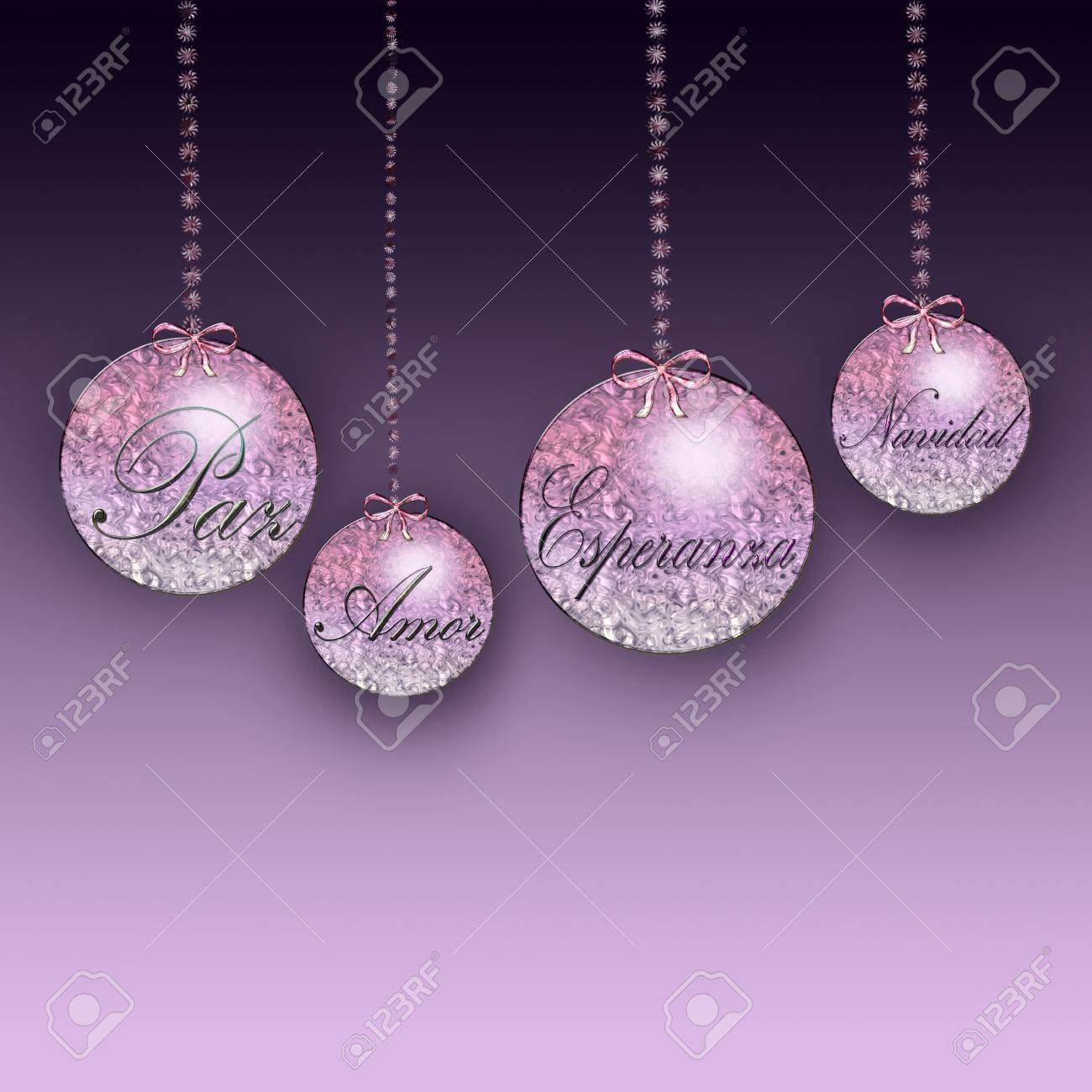 christmas ornaments with the words love hope and peace stock photo