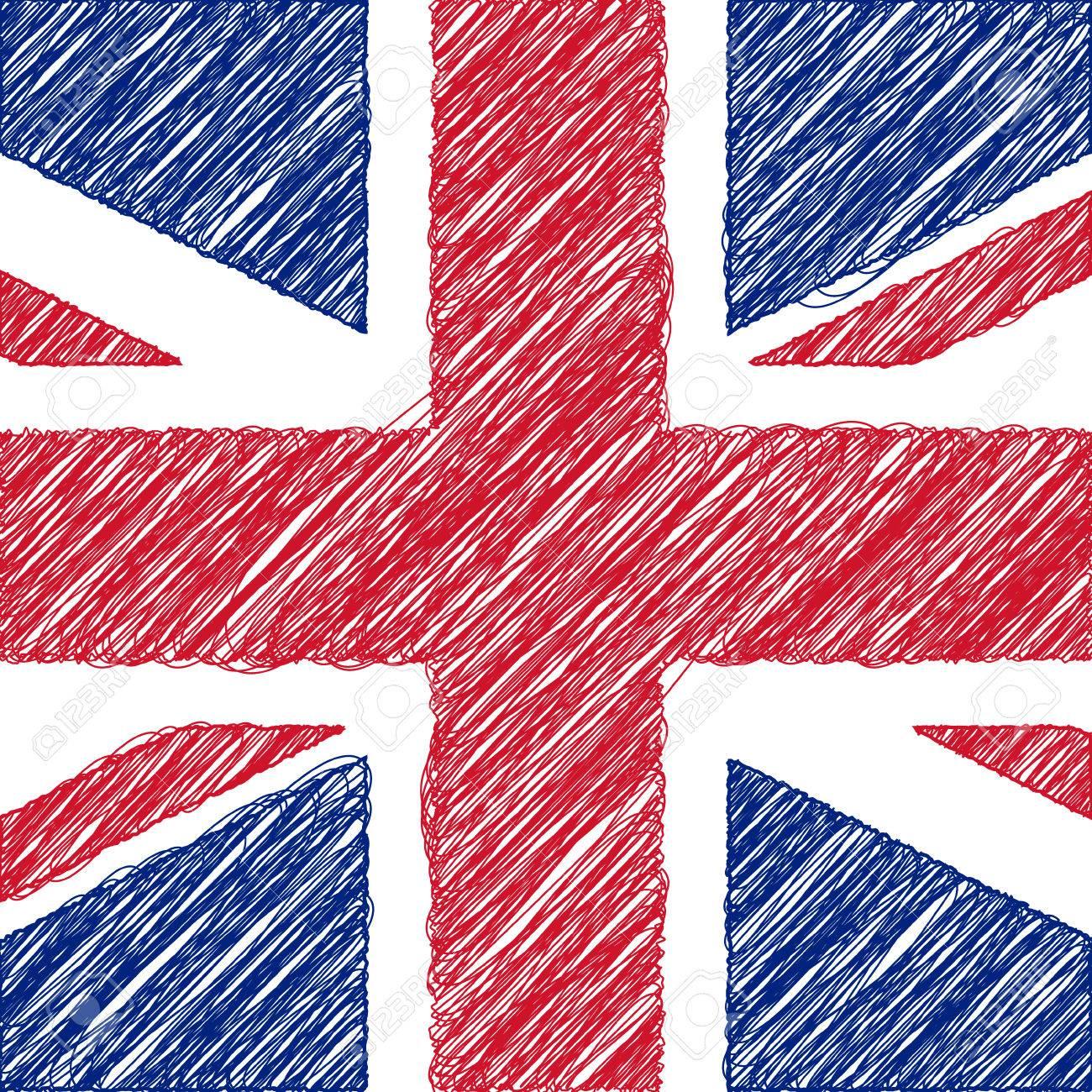Bandera De Reino Unido Lápiz De Dibujo Ilustración Vectorial