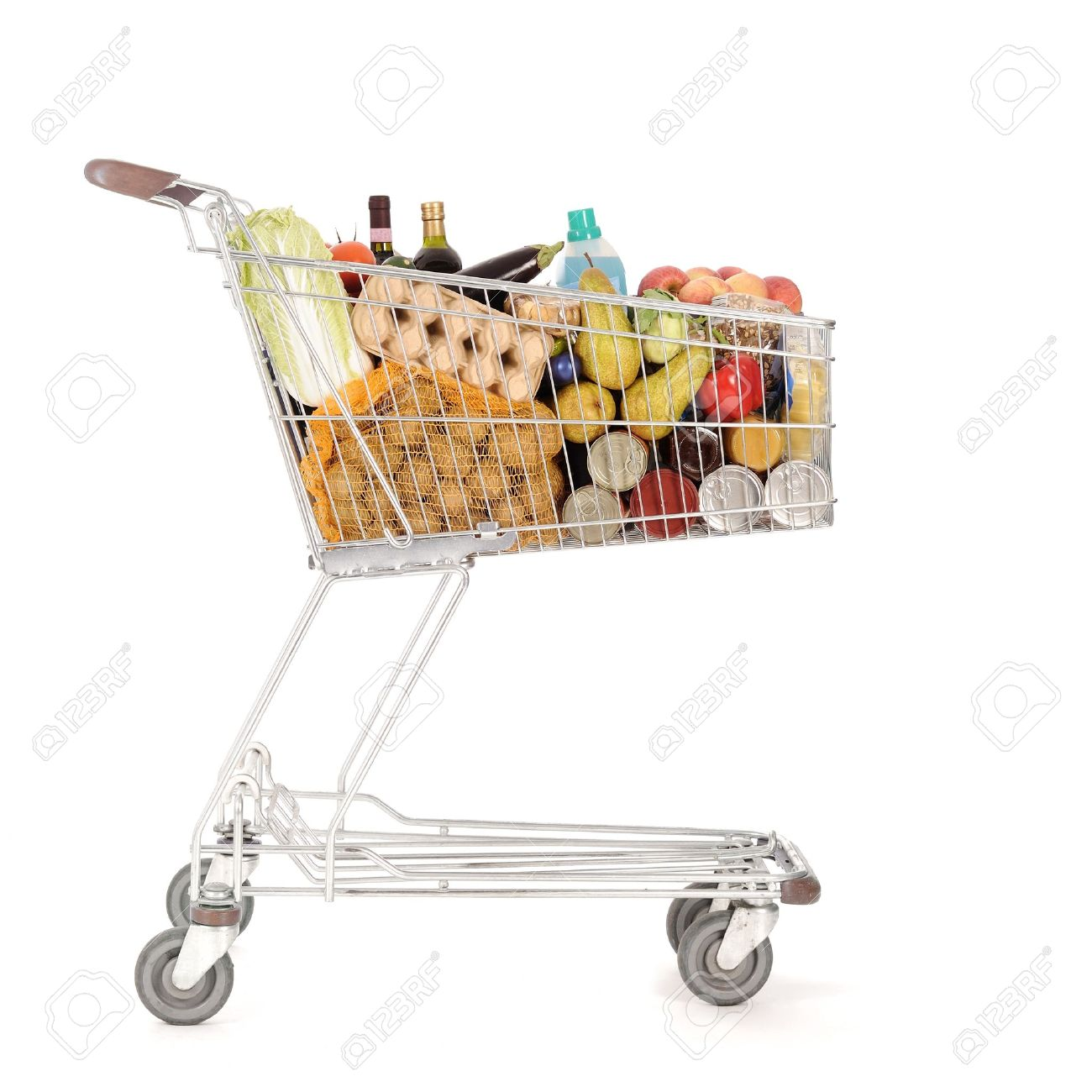 supermarket shopping cart full of foodstuff food Stock Photo - 11106243