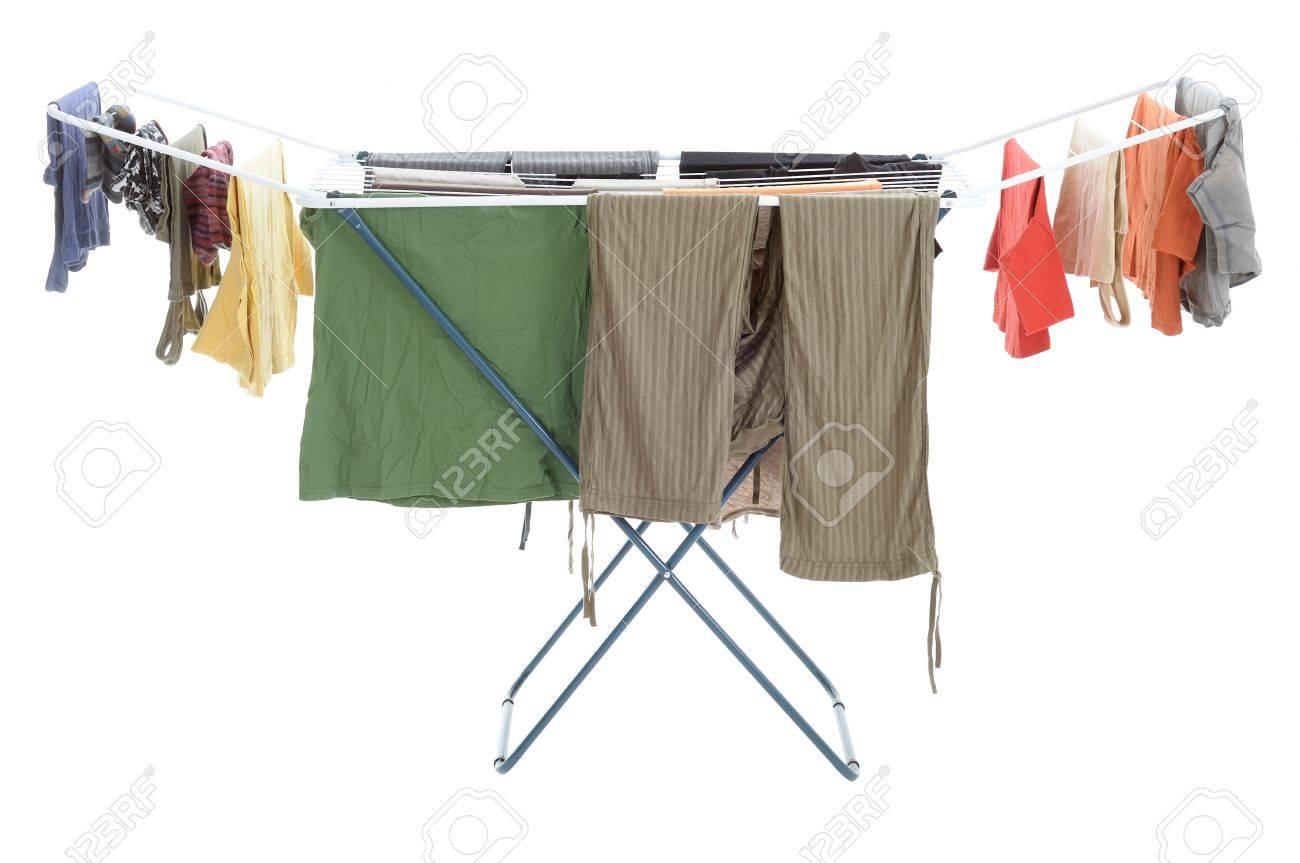 Kleider Hängen Trocknen Auf Dem Wäscheständer Lizenzfreie Fotos ...