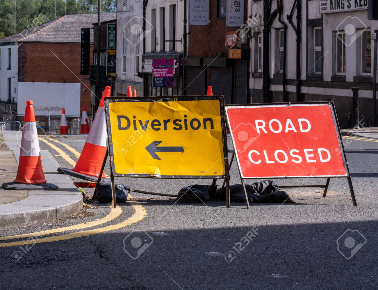 diversion and road closed sign in the town centre in Bolton Lancashire July 2020 - 156133890