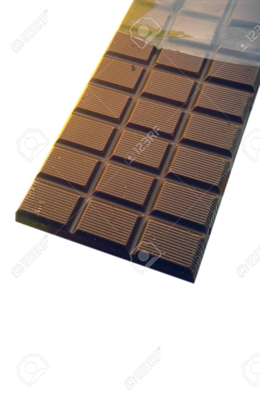 open whole bar of chocolate on  white background Stock Photo - 828085