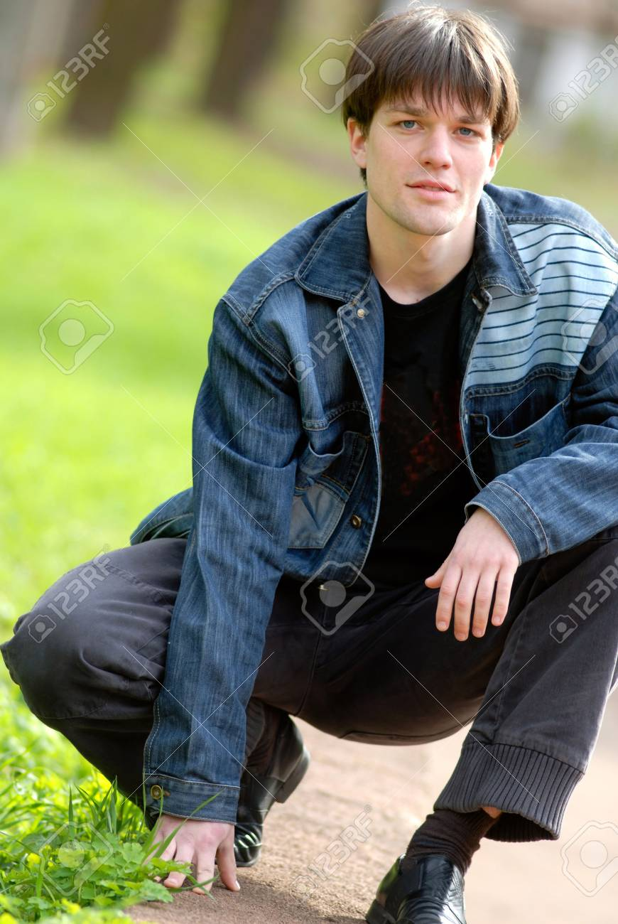 Portrait of  young man in park Stock Photo - 939010