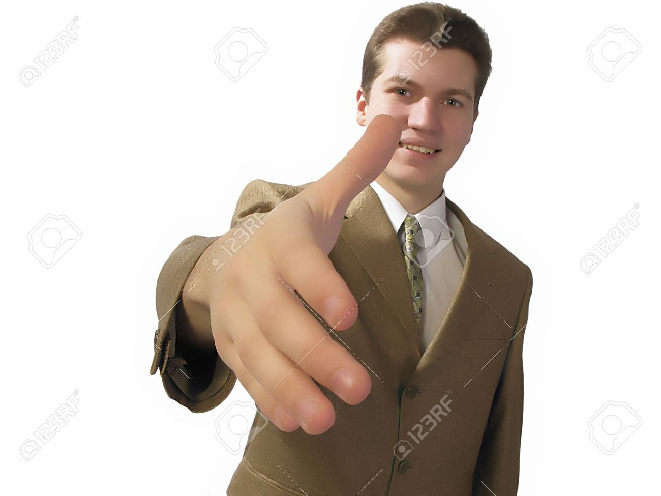 businessman welcomes  hand on  blue background,  close up Stock Photo - 2943205