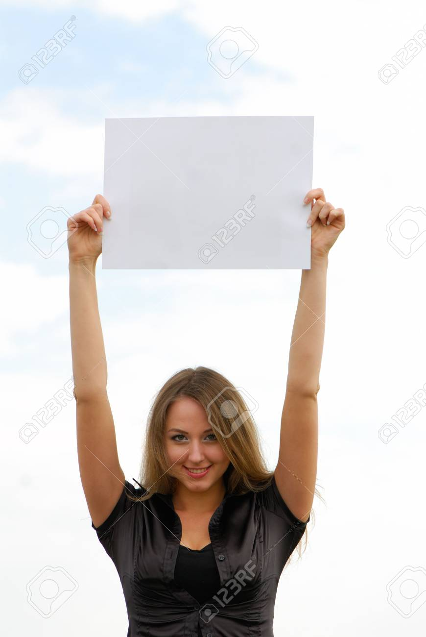 young business woman holding an empty white card Stock Photo - 3104641