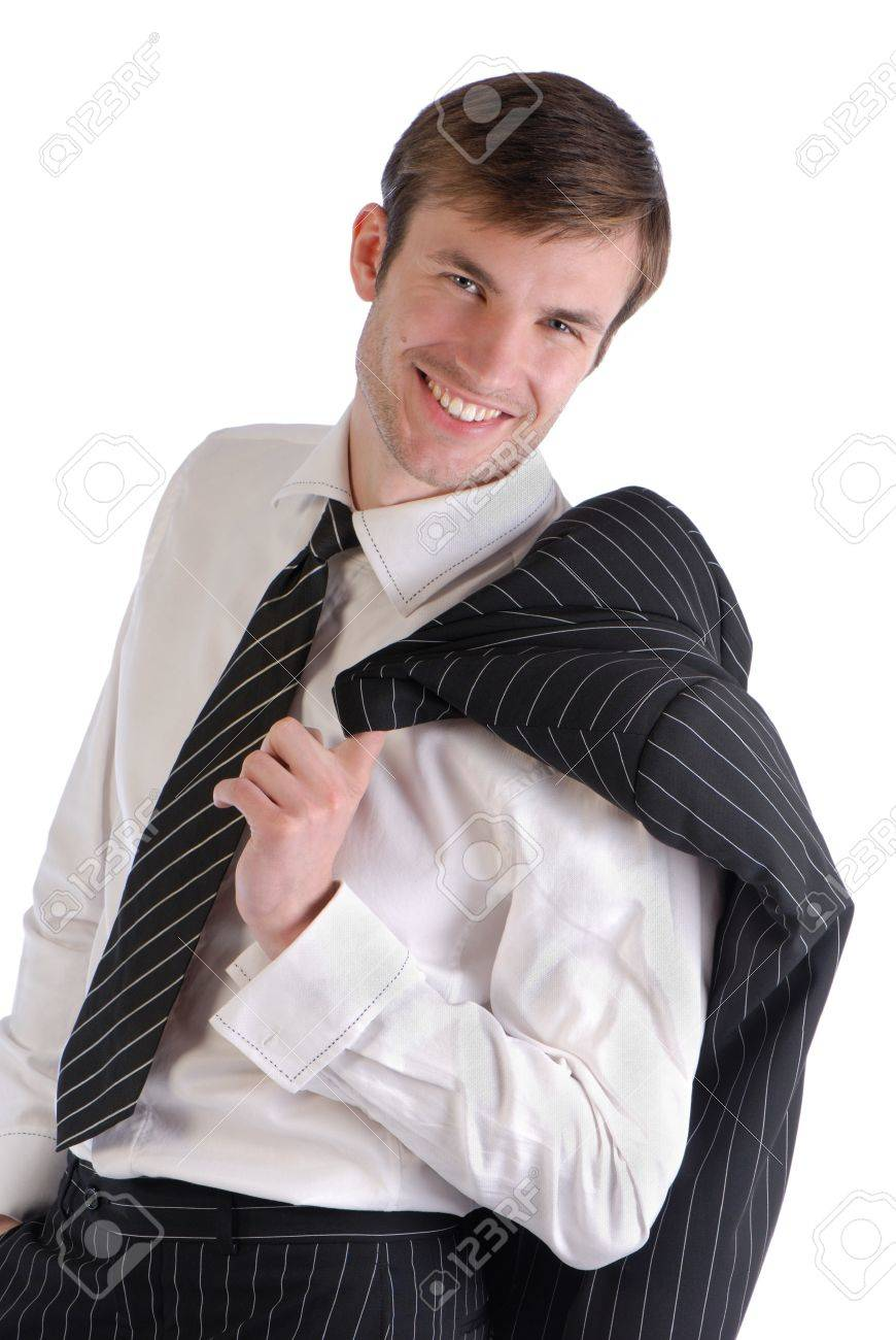 attractive young businessman from black color  jacket on  shoulder isolated on  white background Stock Photo - 4184005