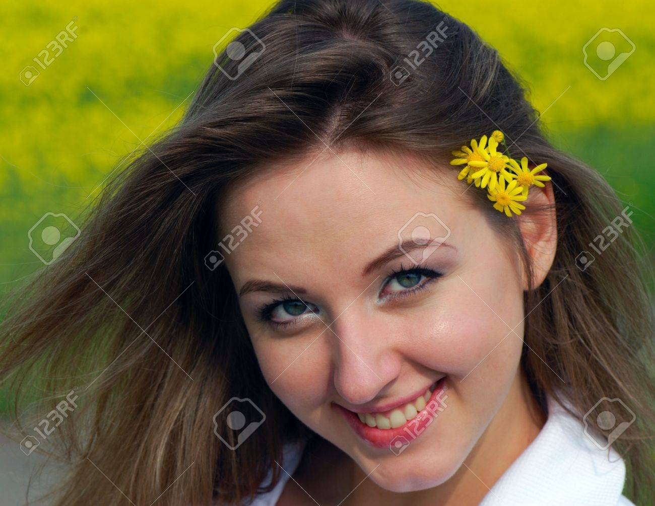 Portrait  cheerful young nice smiling girl  closeup Stock Photo - 5028876